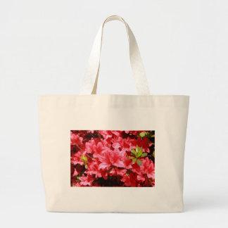 azalea red flowers large tote bag