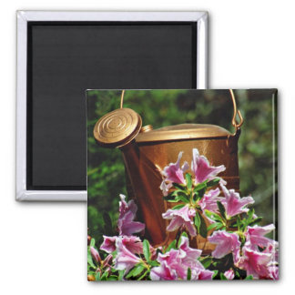 Azaleas and watering can  flowers magnet