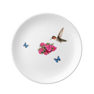 Azalias Butterflies and hummingbird Plate