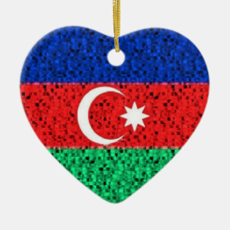 Azerbaijan Flag glitter ornament