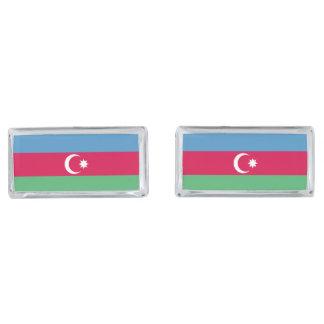 Azerbaijan Flag Silver Finish Cuff Links
