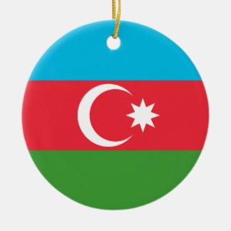 Azerbaijan National World Flag Ceramic Ornament