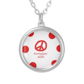 Azerbaijani Language And Peace Symbol Design Silver Plated Necklace