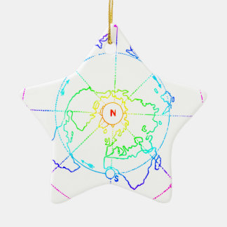 Azimuthal Equidistant Map Zetetic Ceramic Ornament