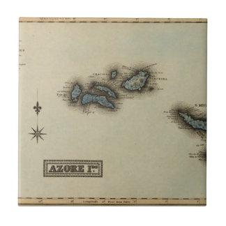 Azore Islands Atlas Map Ceramic Tile