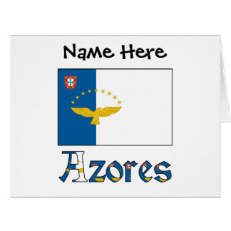 Azorean Flag and Azores with Name Card