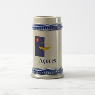 Azores Flag with Name in Portuguese Beer Steins