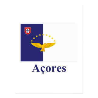Azores Flag with Name in Portuguese Postcard