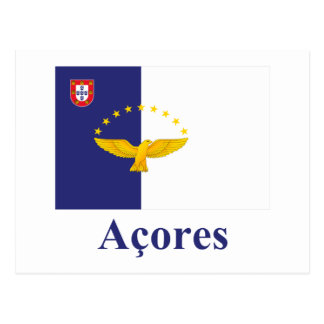 Azores Flag with Name in Portuguese Postcards
