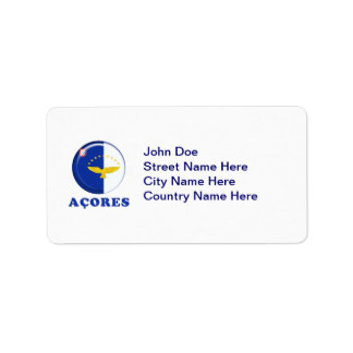 Azores islands flag address label