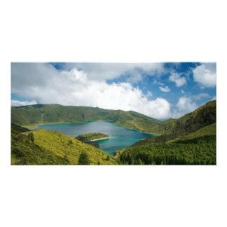 Azores lake landscape customised photo card