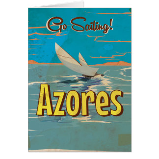 Azores vintage travel poster card