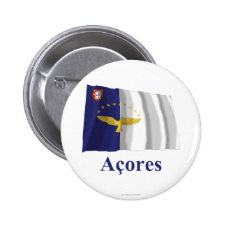 Azores Waving Flag with Name in Portuguese Pins