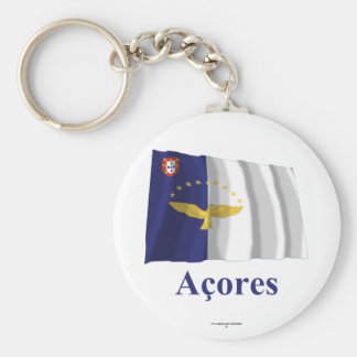 Azores Waving Flag with Name in Portuguese Basic Round Button Key Ring