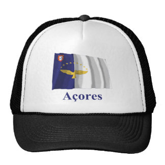 Azores Waving Flag with Name in Portuguese Cap