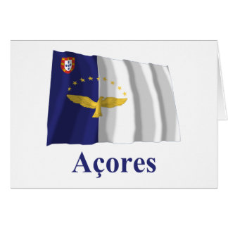 Azores Waving Flag with Name in Portuguese Greeting Card