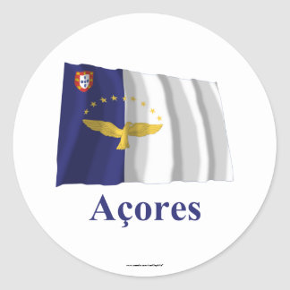 Azores Waving Flag with Name in Portuguese Sticker