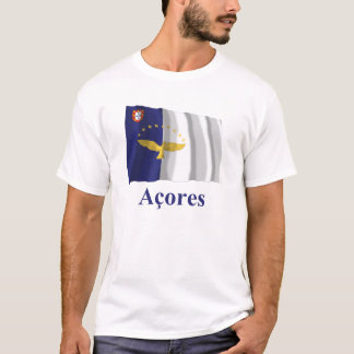 Azores Waving Flag with Name in Portuguese T-Shirt