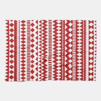 Aztec Andes Red White Tribal Geometric Pattern Tea Towel