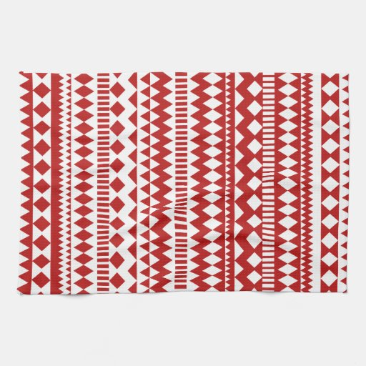 Aztec Andes Red White Tribal Geometric Pattern Kitchen Towels