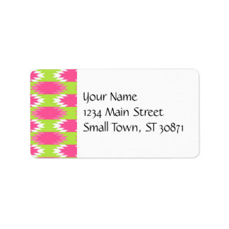 Aztec Andes Tribal Hot Pink Lime Green Pattern Address Label