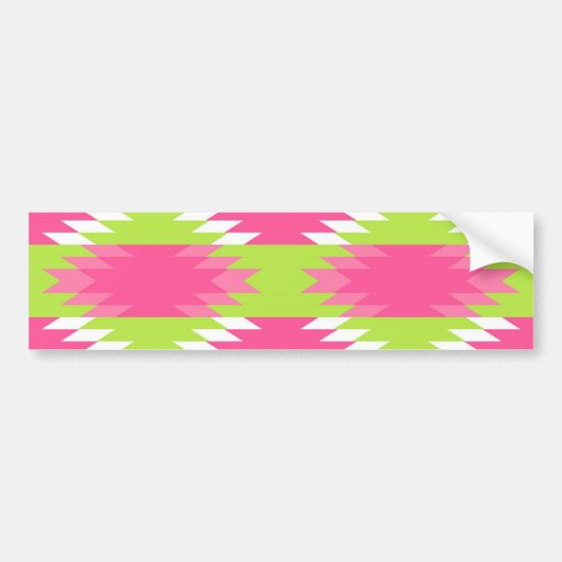 Aztec Andes Tribal Hot Pink Lime Green Pattern Bumper Stickers