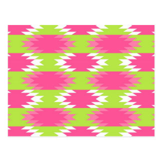 Aztec Andes Tribal Hot Pink Lime Green Pattern Postcard