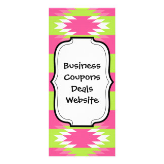 Aztec Andes Tribal Hot Pink Lime Green Pattern Customized Rack Card