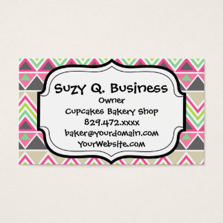 Aztec Andes Tribal Mountains Chevron Zig Zags Business Card