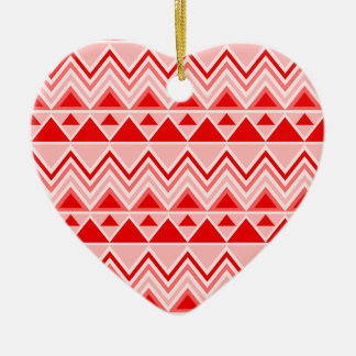Aztec Andes Tribal Mountains Triangles Chevron Red Ceramic Heart Decoration