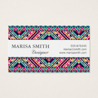 Aztec Andes Tribal Pattern Business Card