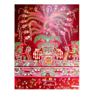 Aztec Art on Red Design Postcard