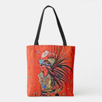 Aztec Bird Dancer Native American Tote Bag