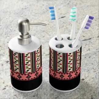 aztec black pokeadots soap toothbrush dispenser