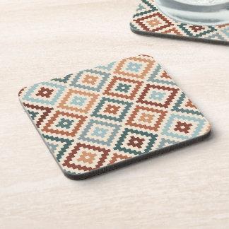 Aztec Block Symbol Ptn Teals Crm Terracottas Coaster