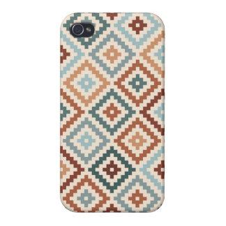 Aztec Block Symbol Ptn Teals Crm Terracottas Cover For iPhone 4