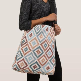 Aztec Block Symbol Ptn Teals Crm Terracottas Crossbody Bag