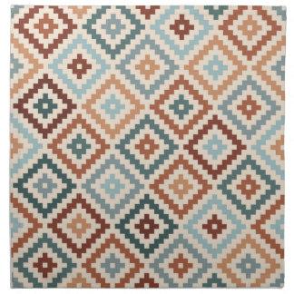 Aztec Block Symbol Ptn Teals Crm Terracottas Napkin