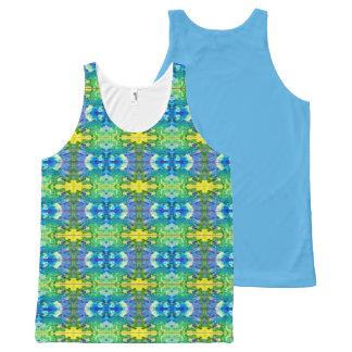 Aztec Blue & Green All-Over Print Singlet
