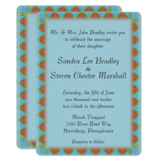 Aztec Blue Wedding Invitation