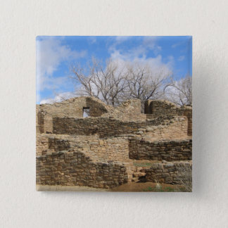 aztec brick ruins with nice sky 15 cm square badge