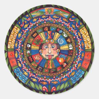 """Aztec Calendar 3"""" round sticker"""