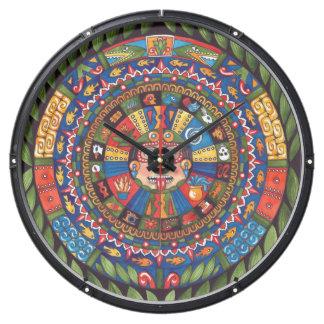 Aztec Calendar Aqua Clock