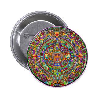 Aztec Calendar Pinback Button