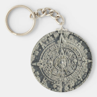 Aztec Calendar Basic Round Button Key Ring