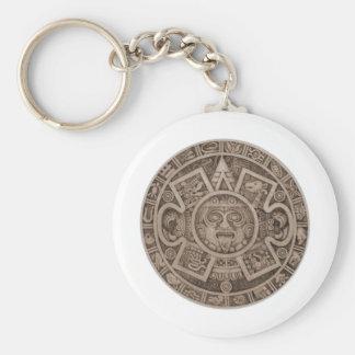Aztec Calendar Basic Round Button Key Ring