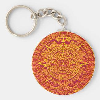 Aztec Calendar - gold Basic Round Button Key Ring