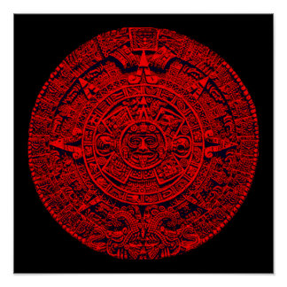 Aztec Calendar (in red) Poster
