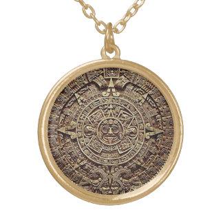 Aztec Calendar Round Pendant Necklace