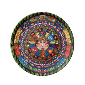 """Aztec Calendar Porcelain Plate 8.5"""""""